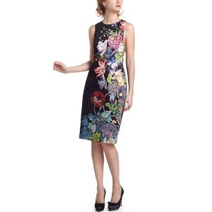 Anthro • Leifsdottir Black Floral Sheath Dress